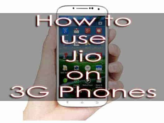 Reliance Jio SIM on 3G Phone