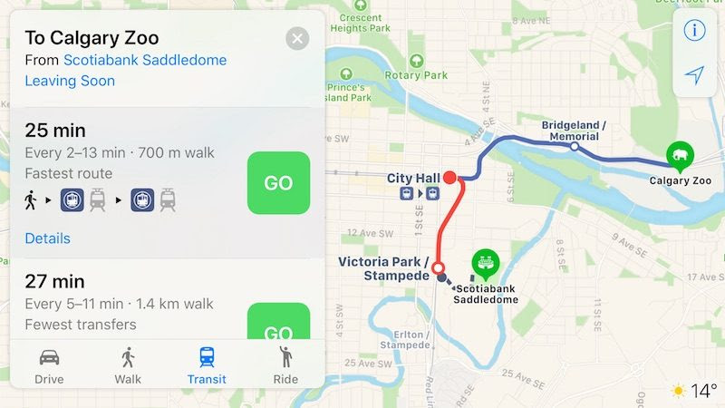 Apple Maps Transit Directions Now Available In Calgary And