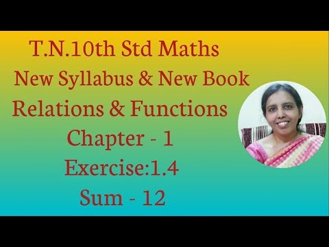 10th std Maths New Syllabus (T.N) 2019 - 2020 Relations & Functions Ex:1.4-12