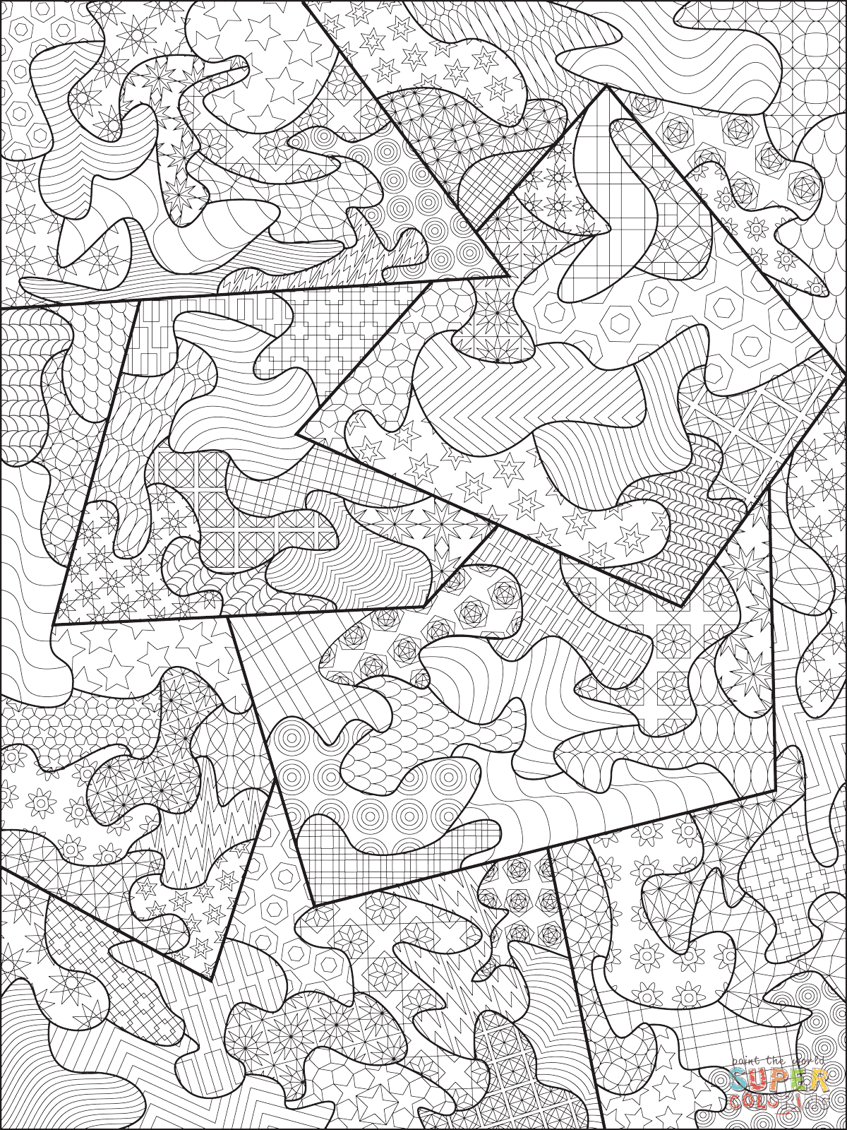 Abstract Zentangle coloring page | Free Printable Coloring ...