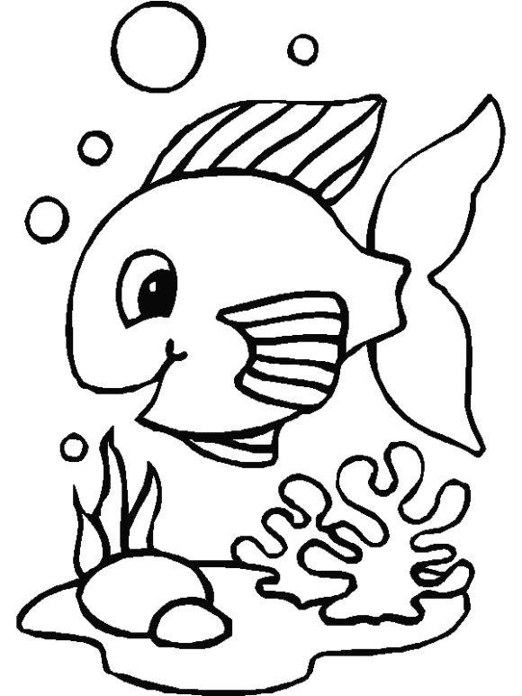 Preschool Coloring Pages Fish   peg dolls   Pinterest
