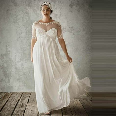 sleeve  size bridal gowns sheer lace beach