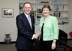 UNDP Administrator Helen Clark shaking hands w...