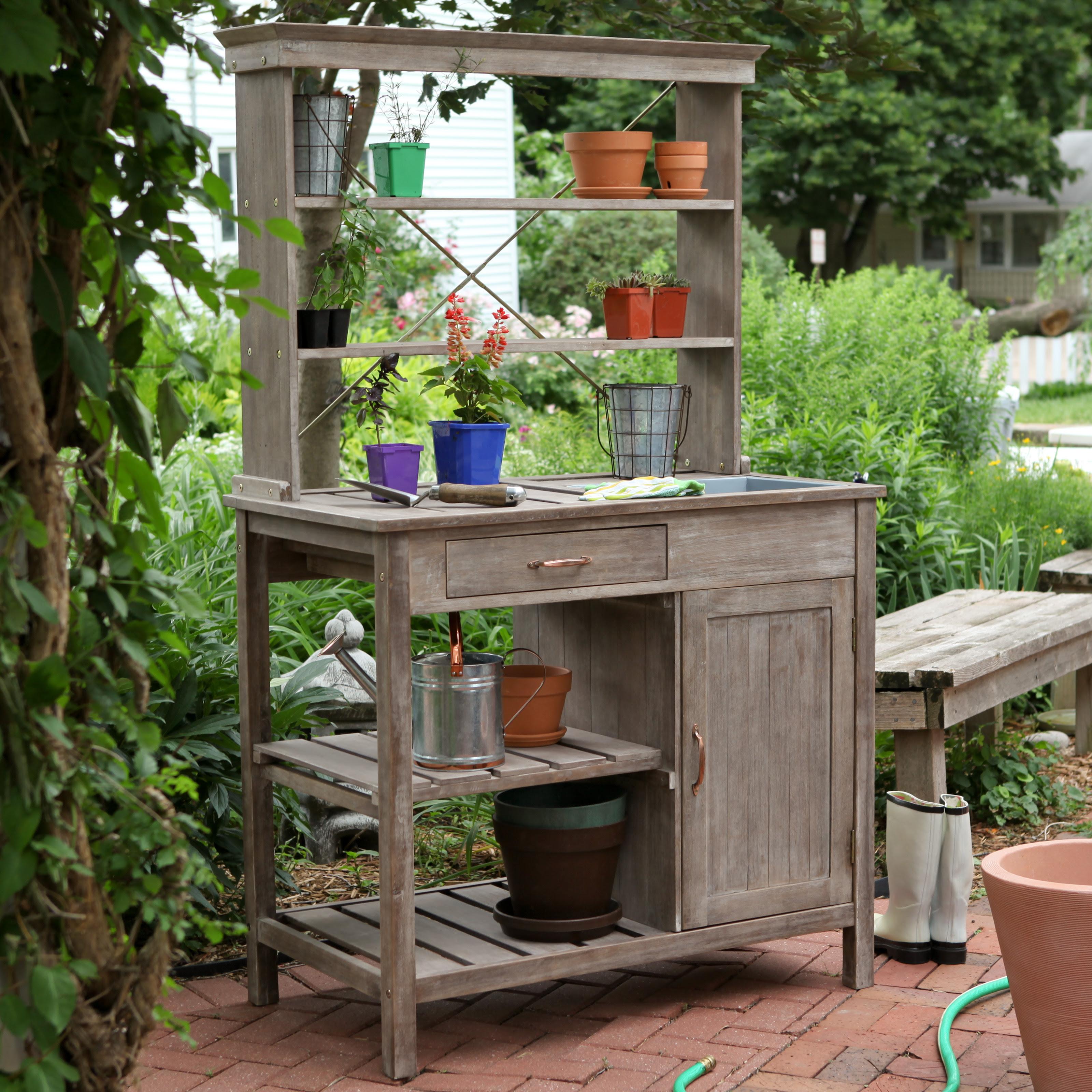 Rustic Garden Storage Potting Bench - Driftwood Finish at ...