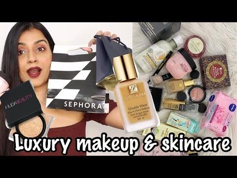 MAKEUP & SKINCARE HAUL 2020   Luxe Makeup Estée Lauder, Benefit, Huda, MAC   Nidhi Chaudhary