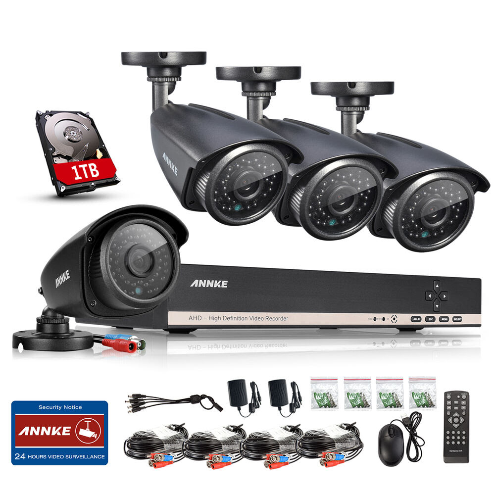 ANNKE HD 8 Channel 1080N DVR 4 Outdoor CCTV Home Security ...