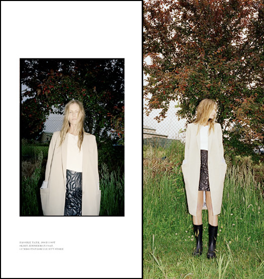 LOVE WANT MAGAZINE EDITORIAL LAID BACK MINIMAL TAN CAMEL COAT BASIC WHITE TOP PRINT LEATHER EMBOSSED SKIRT HIGH WAIST RUBBER MID CALF RAIN BOOTS