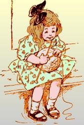 Una bimba con un gomitolo e dei ferri da calza: passatempo e gioco dei tempi andati!