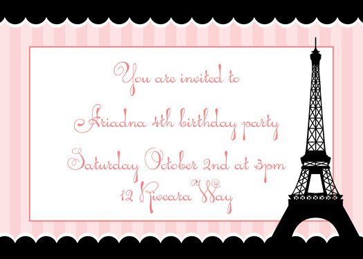 Paris Party Invitation - eiffel tower
