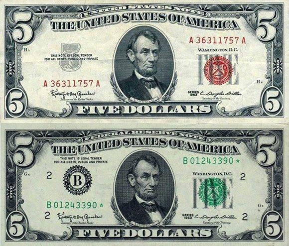 """A comparação de um """"Estados Unidos Note"""" emitidas pelo Kennedy (em cima) e um regular """"Federal Reserve Note"""".  Observe que a bandeira no topo diz """"Estados Unidos Note"""" em vez de Federal Reserve Note """". Além disso, o"""" logotipo B """"da Reserva Federal não aparece no Estados Unidos Note."""