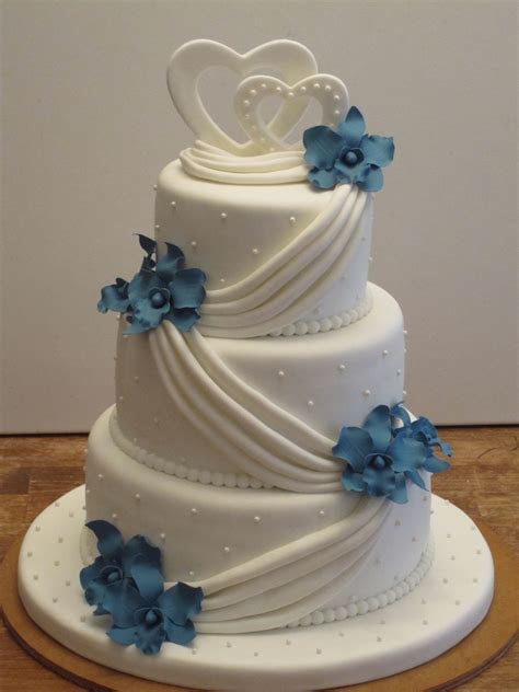 Blue Orchid Wedding Cake   CakeCentral.com