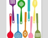 Kitchen Utensils - Spatula Collection - 11x14 Silhouette Print - Perfect for Kitchen - Colorful, Happy, Bright - Tessyla