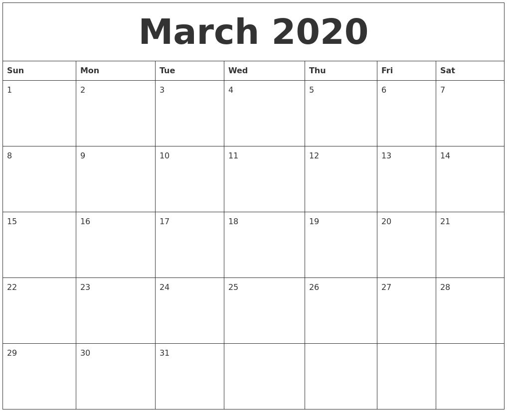 march 2020 calendar month