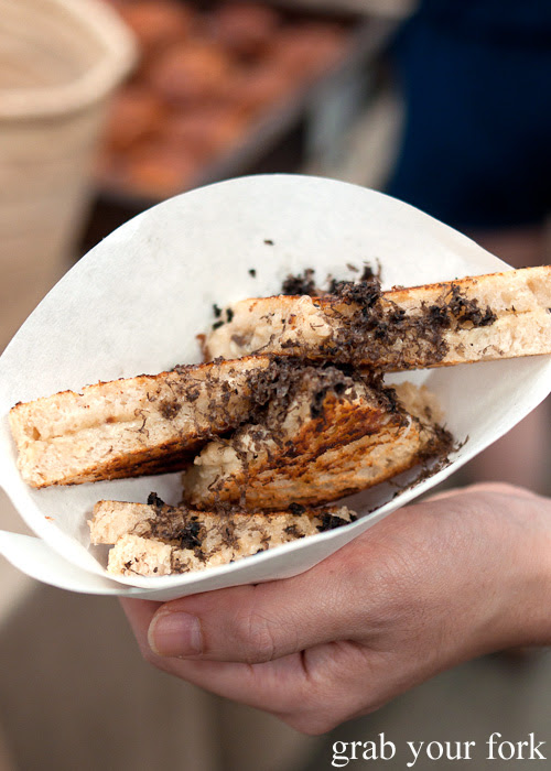 Cheese toastie with Manjimup black truffle and gruyere cheese at the Sunday Marketplace, Rootstock Sydney 2014