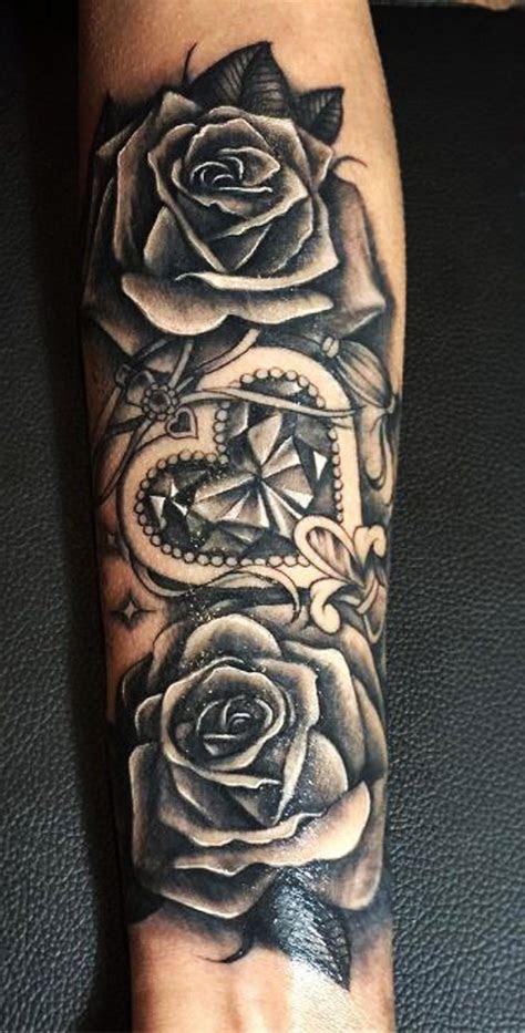 black rose vintage floral flower traditional forearm