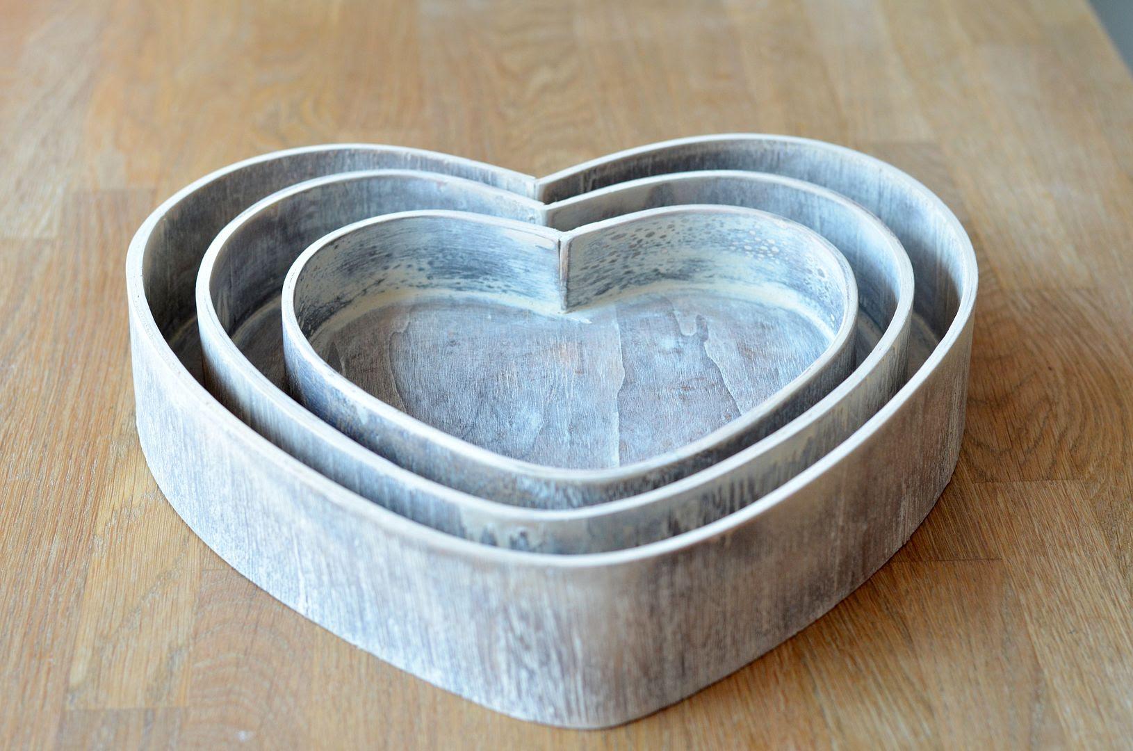 wooden heart trays