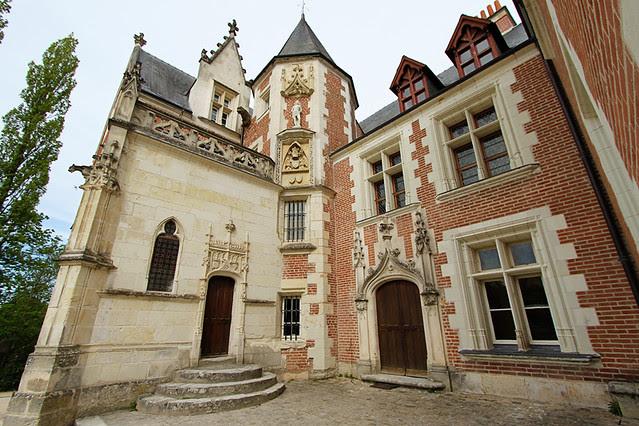 Chateau du Clos Lucé, castle entrance, Loire Valley, France