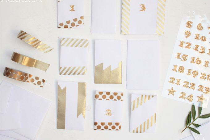 Adventskalender im Glas, Gold, Masking Tape