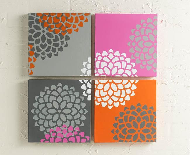 Easy stenciled wall decor DIY with stencils - click thru for the full tutorial using stencils
