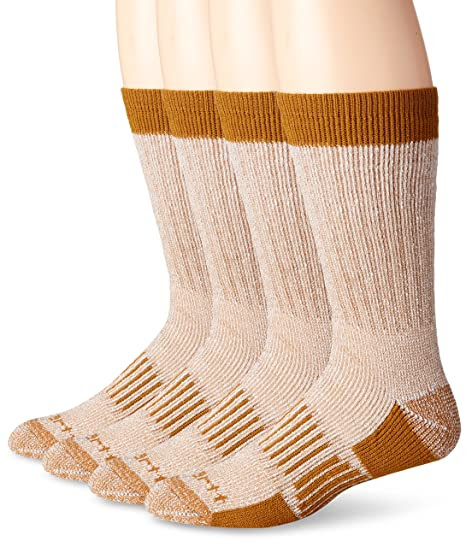 Carhartt Men's 4 Pack All Season Wool Work Socks, Brown, 10-13 Sock/6-12 Shoe
