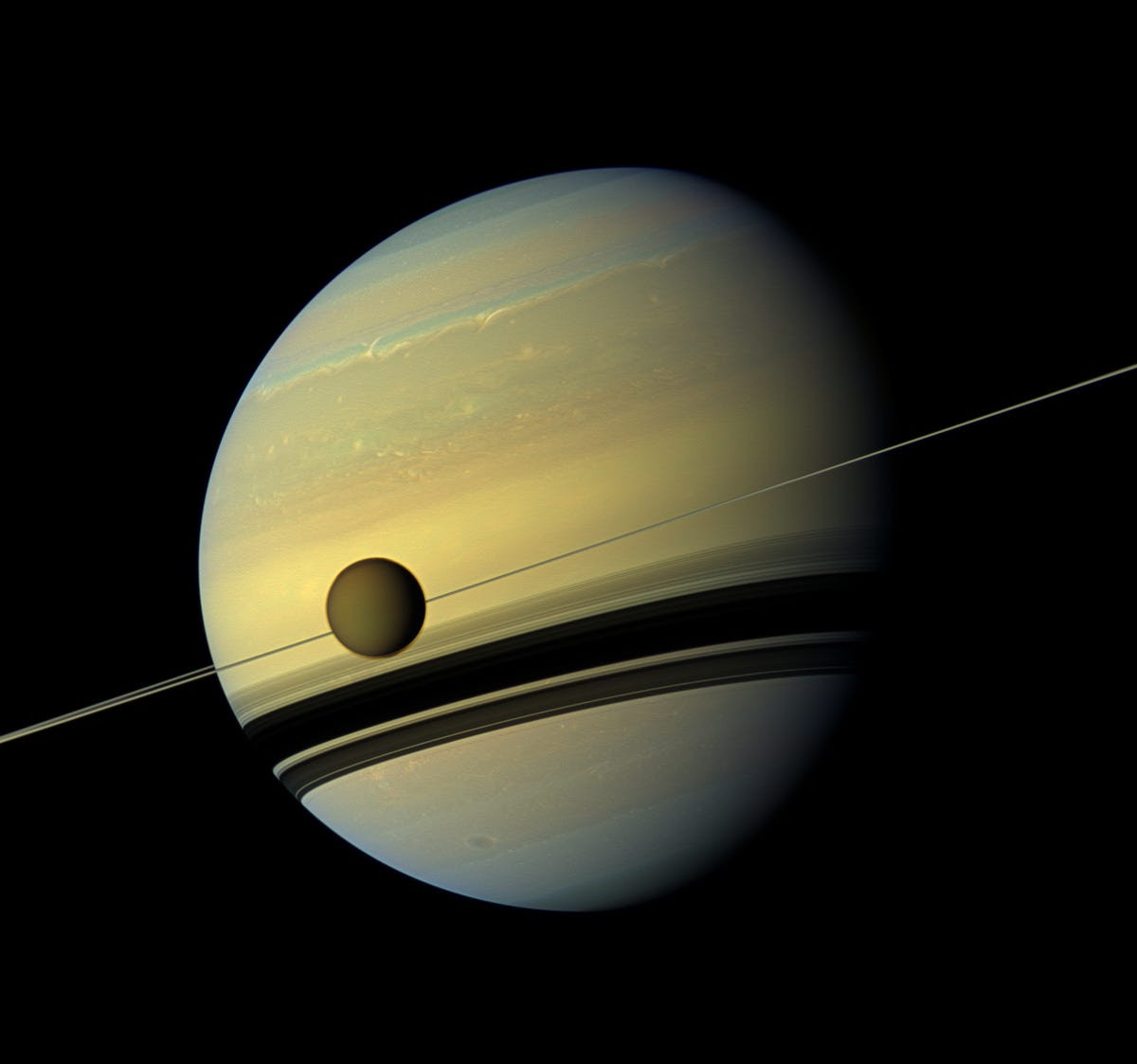 The probe's views of Titan in front of Saturn were striking.