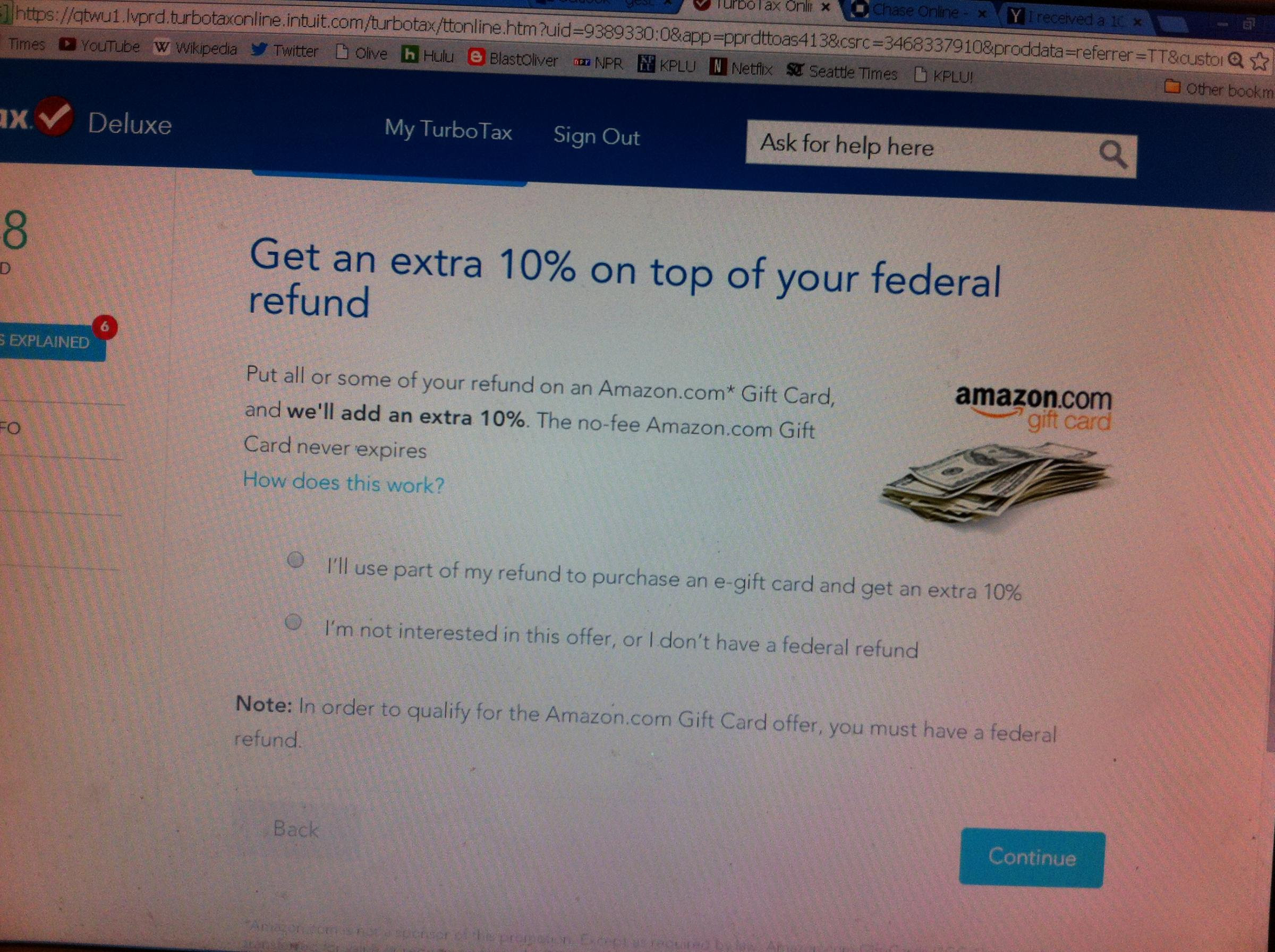 Turbotax Offers Taxpayers Option Of Getting Refund In Amazon Gift