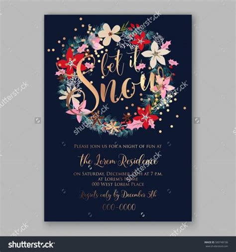 Christmas Party Invitation Poster Template With Romantic