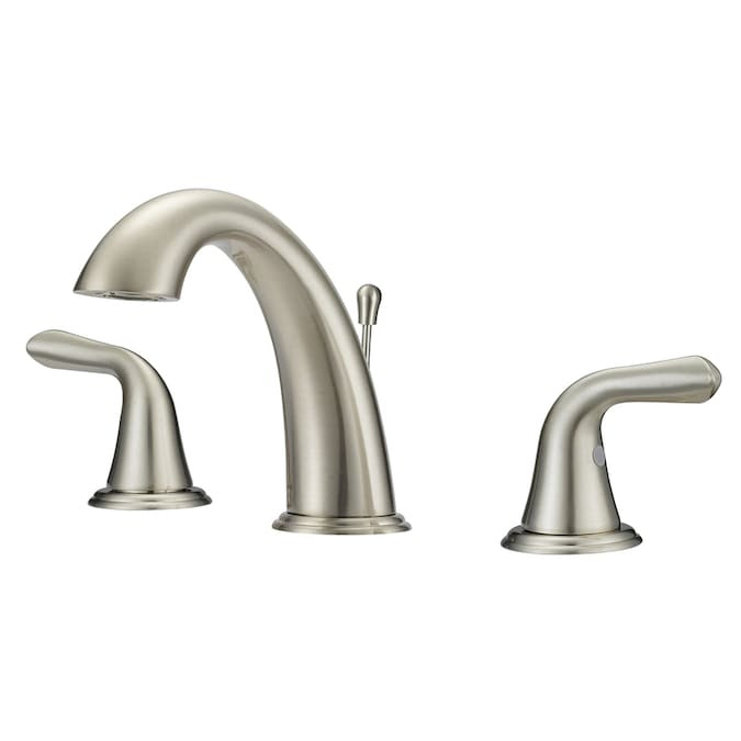 Project Source Brushed Nickel 2 Handle Widespread Watersense Bathroom Sink Faucet With Drain In The Bathroom Sink Faucets Department At Lowes Com
