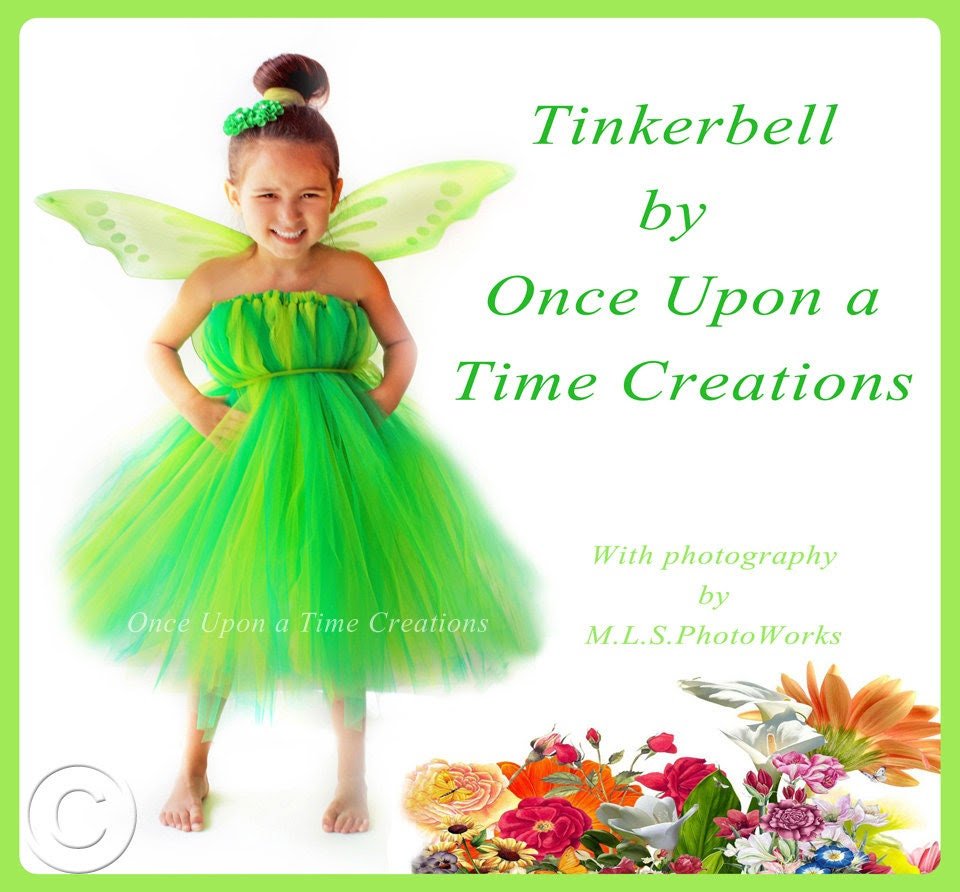 Tinkerbell Inspired Tutu Dress - Birthday Outfit, Photo Prop, Halloween Costume - 12M 2T 3T 4T 5T - Disney Tinker Bell Inspired