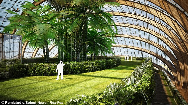 Finding inner calm: The greenhouse-like environment also provides for lush vegetation to help with air quality and provide food sources