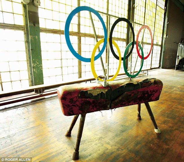 The gym, with the Olympic rings and a vaulting horse used by German triple gold medallist Alfred Schwarzmann