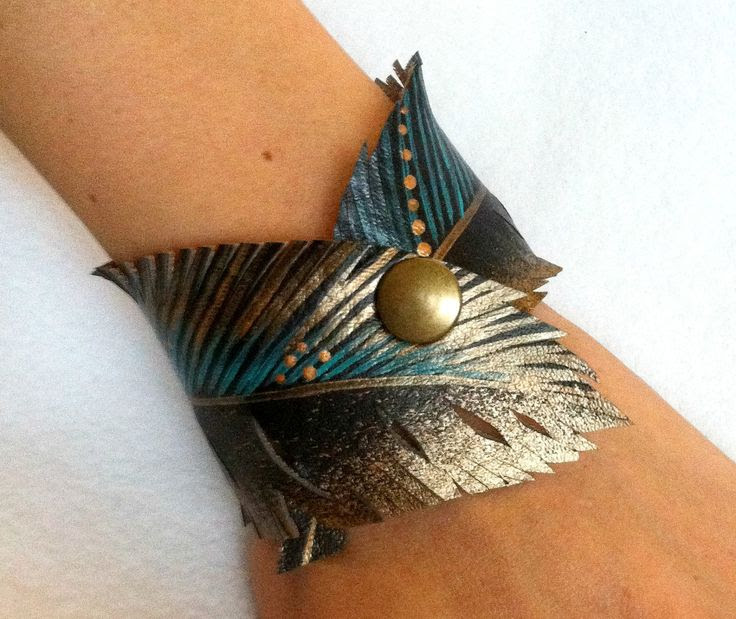 Feather Gold Turquoise Cuff, Handmade Gifts
