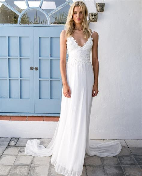 2017 Summer Sexy Casual Beach Wedding Dresses Backless