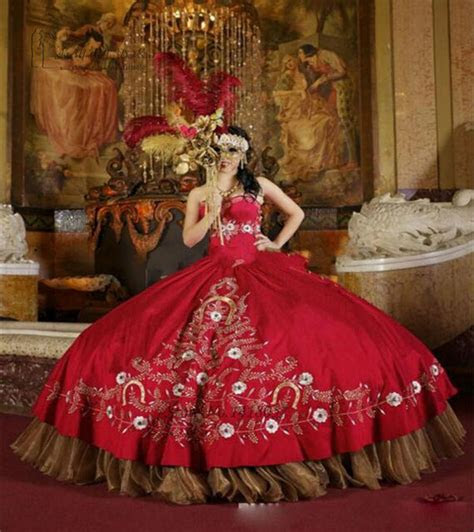 red gold embroidery debutante ball gown quinceanera