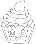 Kawaii Christmas Cupcake Coloring Page Free Printable Coloring Pages
