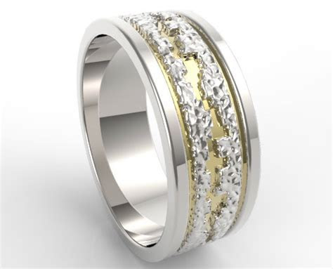 Hammered Two Tone Gold Wedding Band Mens   Vidar Jewelry