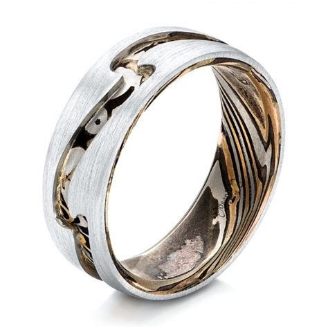 Custom Men's Platinum and Mokume Wedding Band #102032