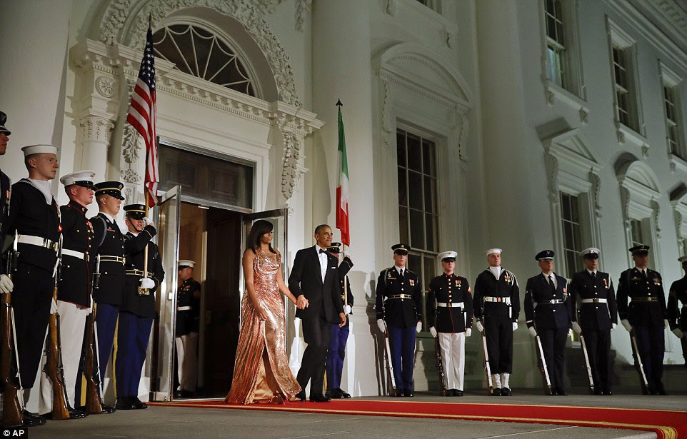Barack Obama had promised that they had 'saved the best for last.' And the first lady lived up to that promise with her stunning custom-made Atelier Versace dress