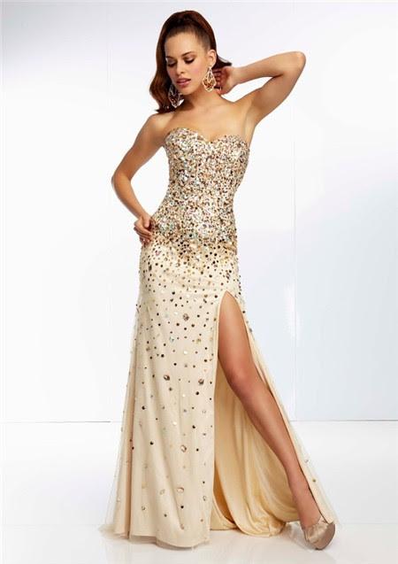 Gold evening dress long