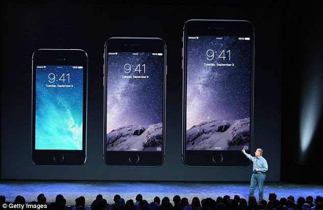 The devices (pictured right compared to the iPhone 5S left) were unveiled by Phil Schiller, senior vice president of Apple's worldwide marketing, at the Flint Center for the Performing Arts at De Anza College in Cupertino. The iPhone 6 will start at $199 on a two-year contract for 16GB, $299 for 64GB and $399 for 128GB