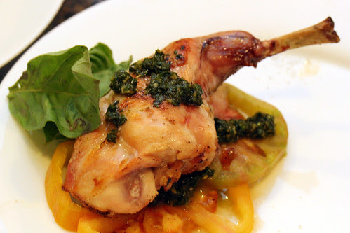 Served, plated bunny leg
