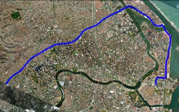 Linha de VLT vai sair do TI da Macaxeira e seguir até o da Joana Bezerra. (Foto: Katherine Coutinho/G1)