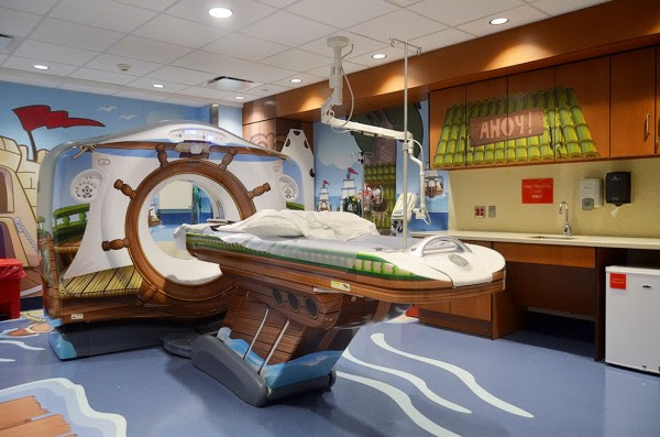 Rather than replace the scanner with the plain white, sterile contraption that can be found at most hospitals, they decided to jazz things up. The new machine, which is specifically designed to deliver the lowest dose of radiation possible to the patient, is also designed to look like a pirate ship!
