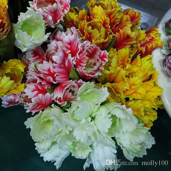2017 Artificial Parrot Tulips Bouquets Artificial Flowers Simulation Real Touch Tulip Wedding