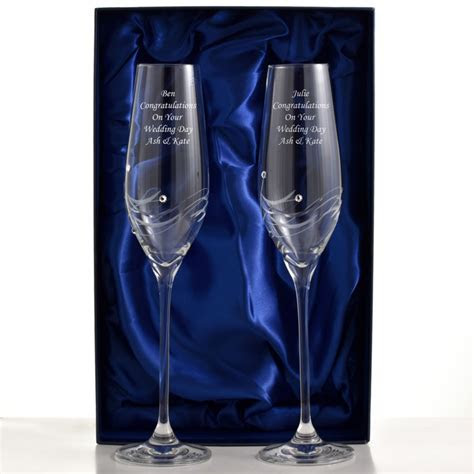 Engraved Champagne Flutes With Beautiful Swarovski