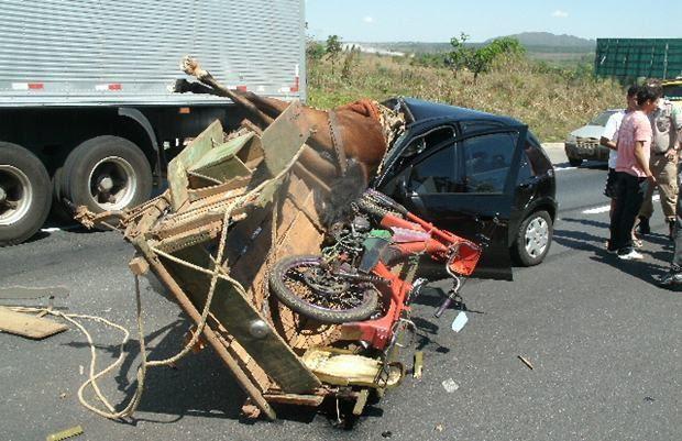 Acidente entre carro e carroça mata cavalo e jovens se salvam, em Goiás (Foto: Divulgação/PRF)