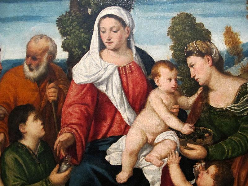 File:Bonifacio veronese (attr.), sacra famiglia con tobiolo, l'arcangelo raffaele, santa dorotea, san giovannino, 1550 ca. 02.JPG