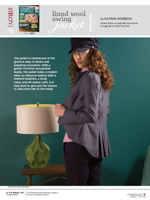 Lined Wool Swing Jacket - meine Jacke im Stitch Magazine! @frauvau.blogspot.de