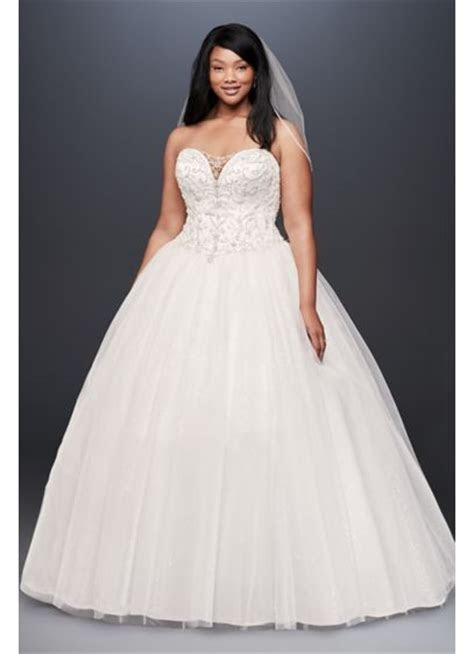 Beaded Illusion Plus Size Ball Gown Wedding Dress   David