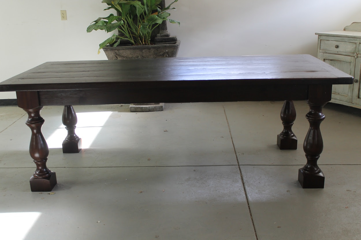 Restoration Hardware Inspired Table With Thick Turned Legs  ECustomFinishes